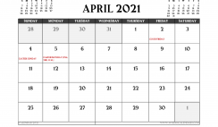 Printable April 2021 Calendar UK