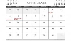 April 2021 Calendar UK Printable