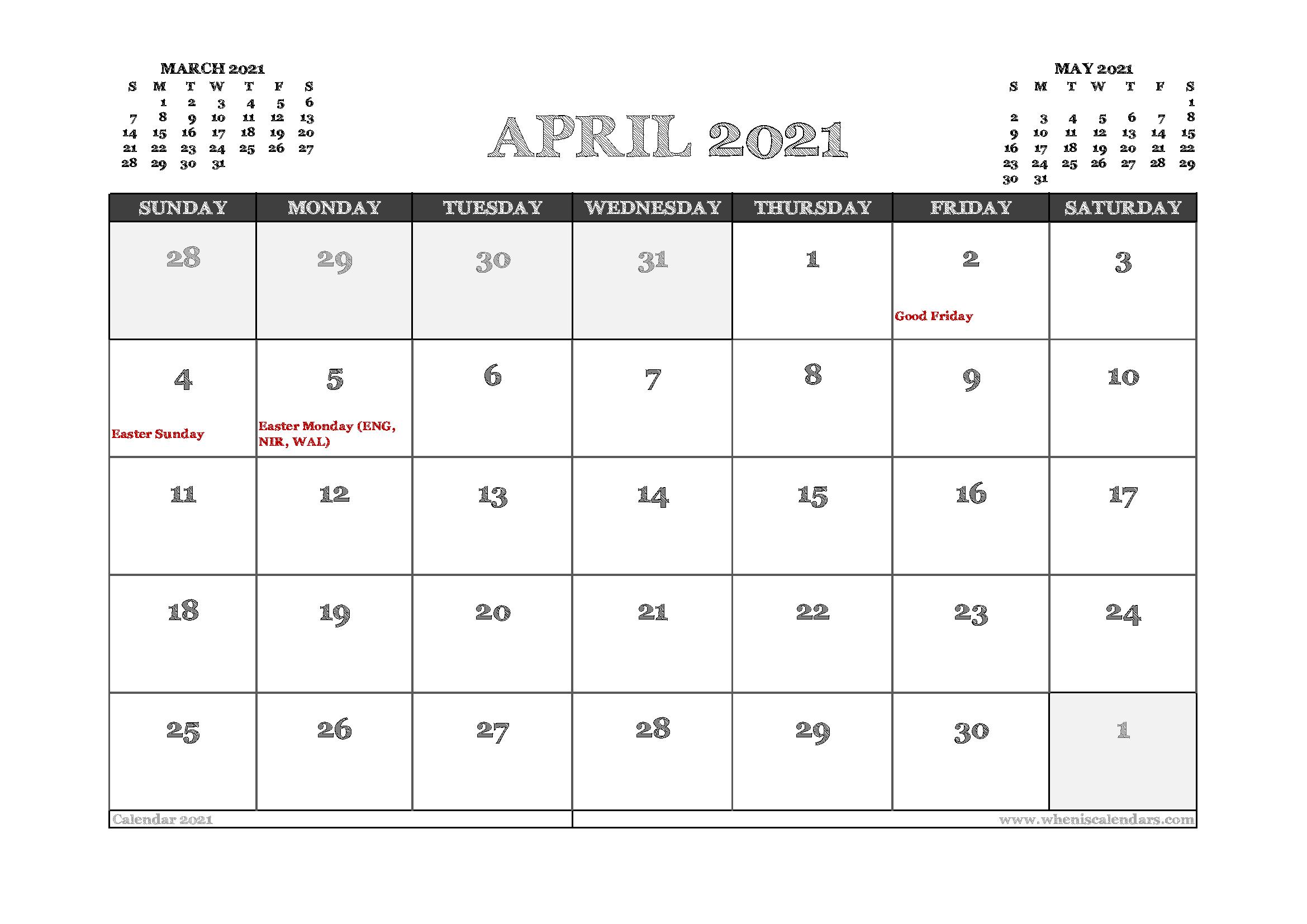 April 2021 Calendar UK Printable