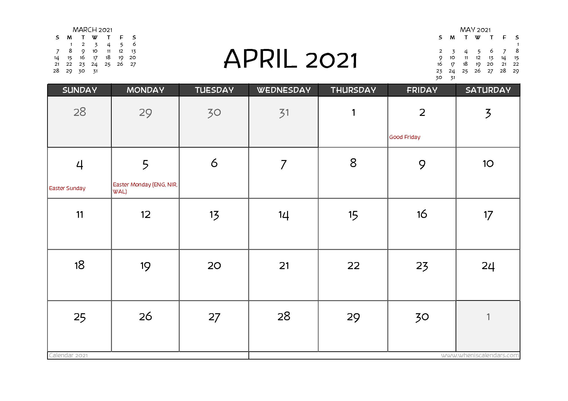 Free Printable April 2021 Calendar UK