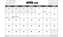 Free April 2021 Calendar UK Printable