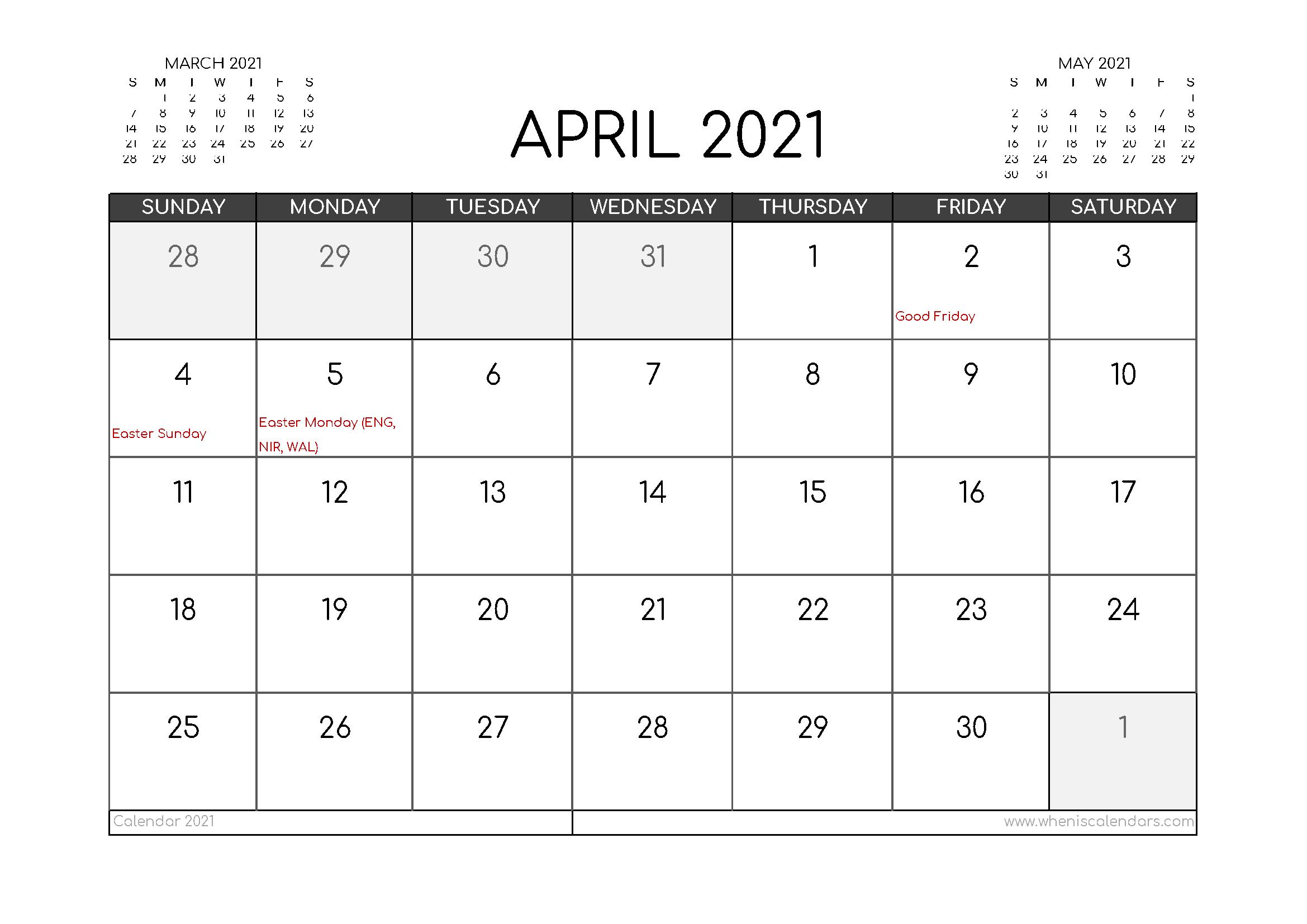 Free April 2021 Calendar UK Printable