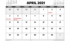 April 2021 Calendar UK with Holidays