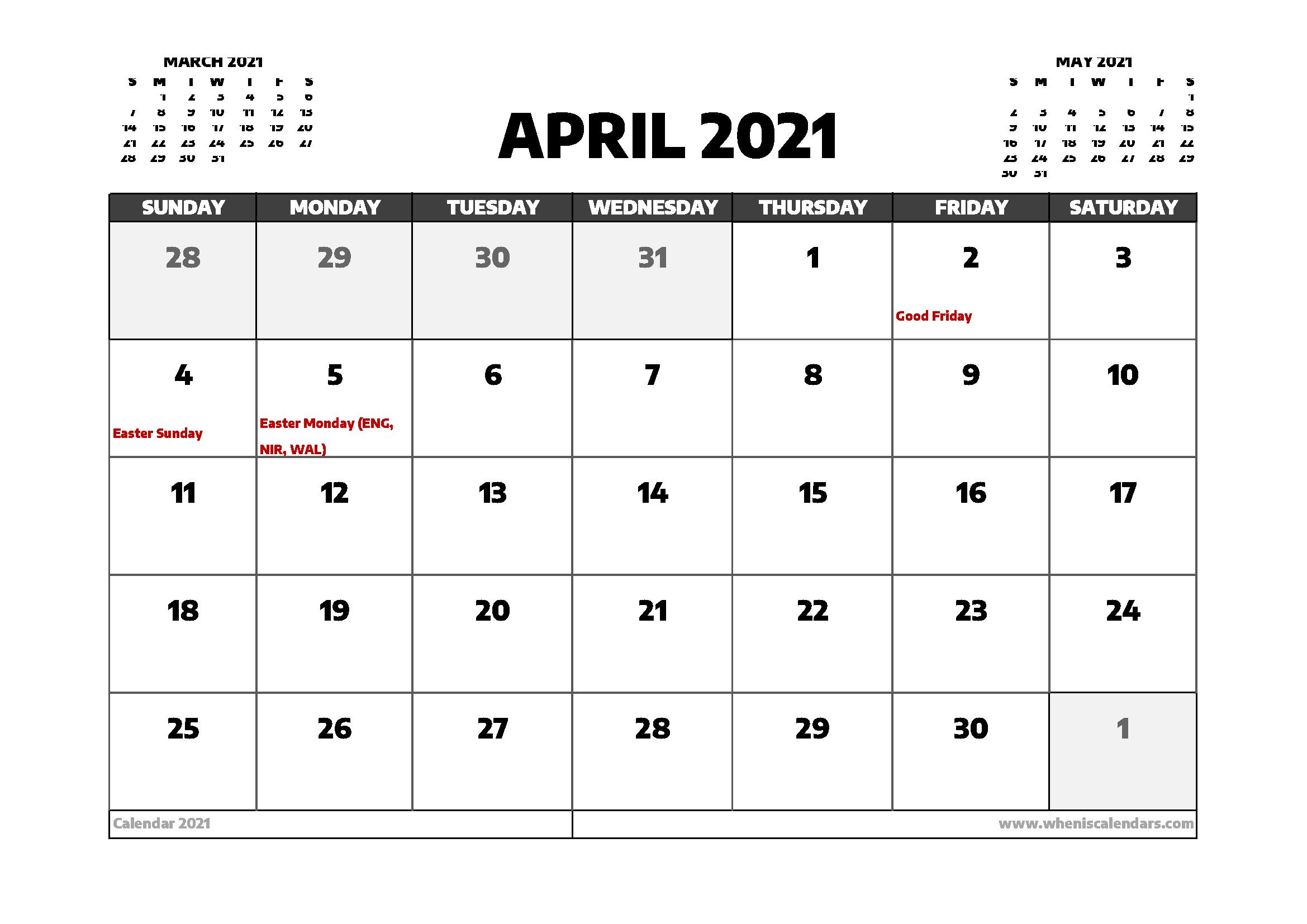 April 2021 Calendar UK with Holidays