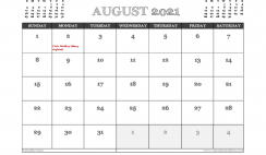 August 2021 Calendar Canada Printable