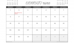Free August 2021 Calendar Canada Printable