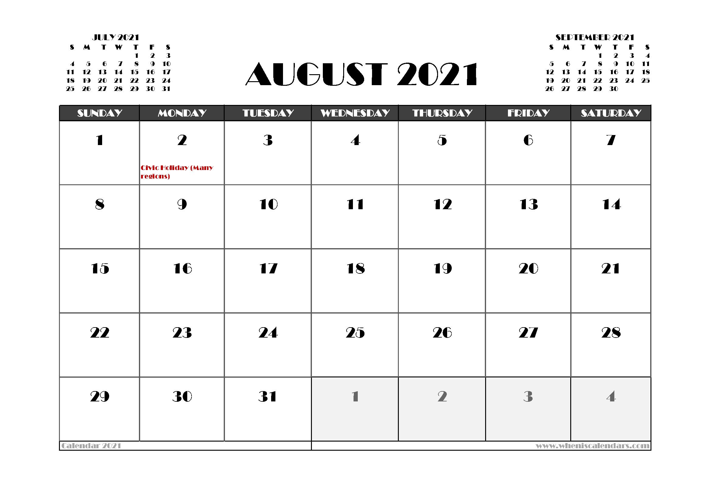 Free August 2021 Calendar Canada Printable 12 Templates