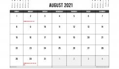 Printable August 2021 Calendar UK