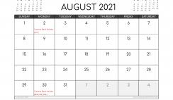 Free August 2021 Calendar UK Printable