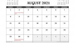 Free Printable August 2021 Calendar UK