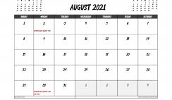 August 2021 Calendar UK Printable