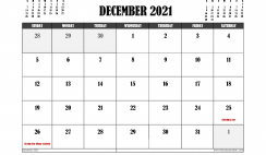 Free Printable December 2021 Calendar Canada