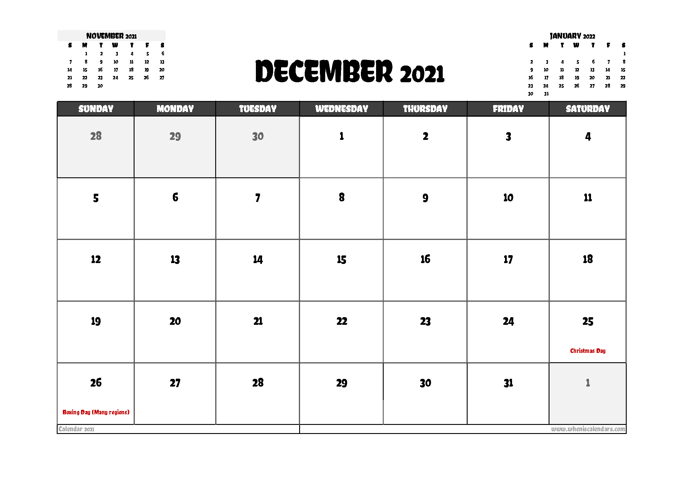 Free December 2021 Calendar Canada Printable