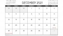 December 2021 Calendar Canada Printable