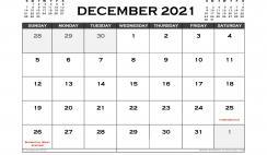 Printable December 2021 Calendar Canada