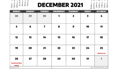 December 2021 Calendar Canada with Holidays