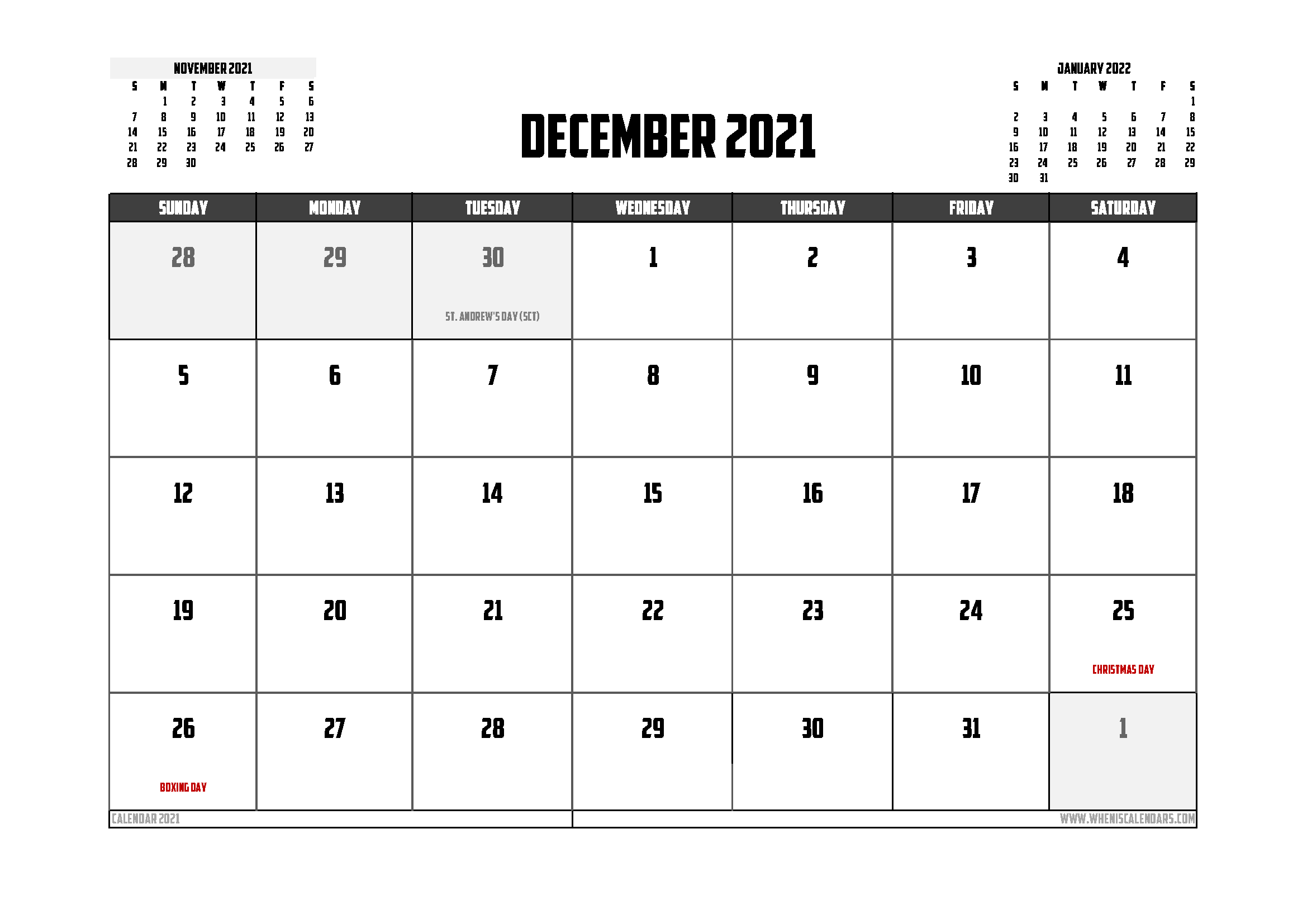 Free Printable December 2021 Calendar UK 12 Templates