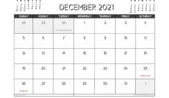 December 2021 Calendar UK Printable