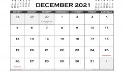 Printable December 2021 Calendar UK