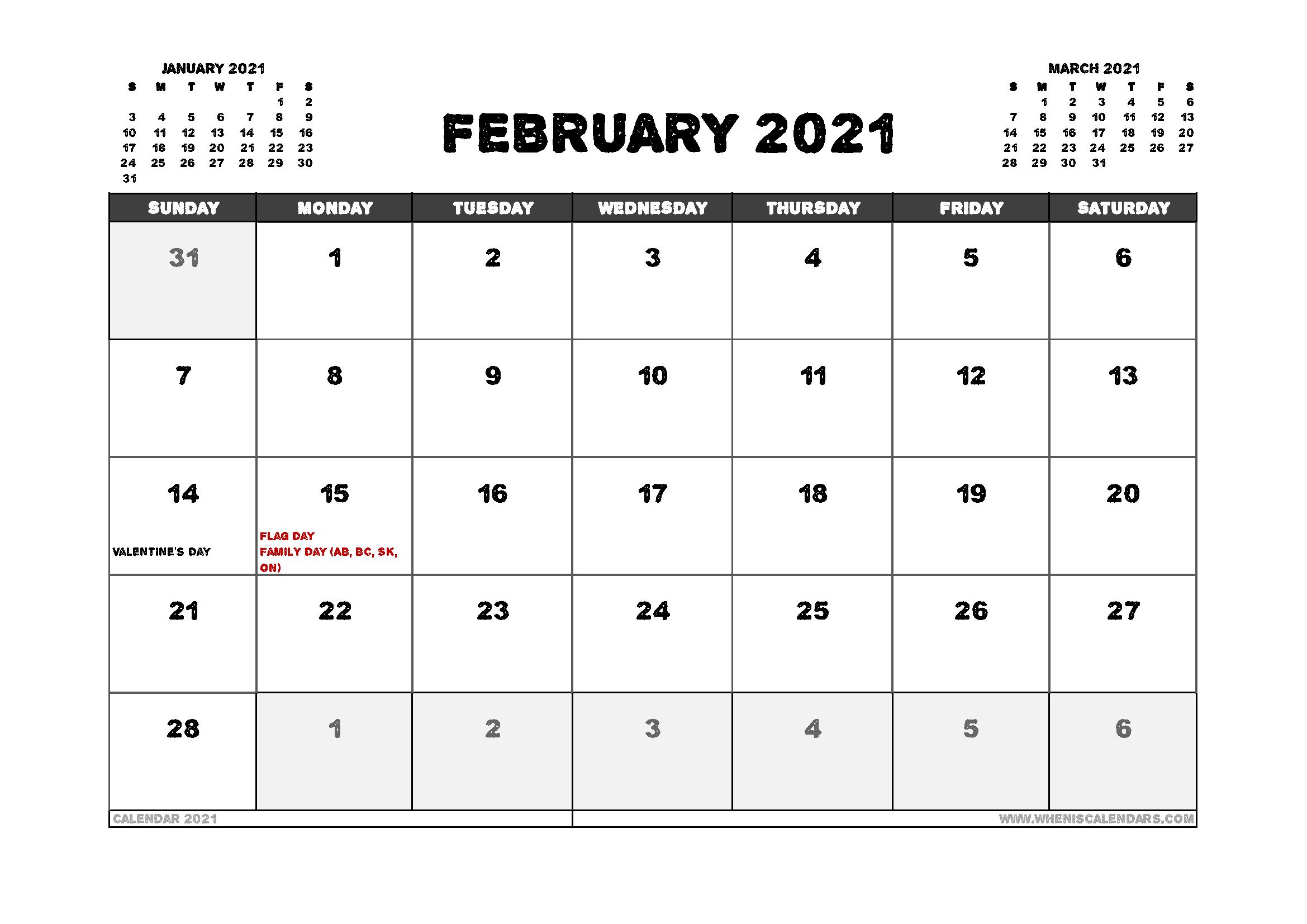 Free February 2021 Calendar Canada Printable