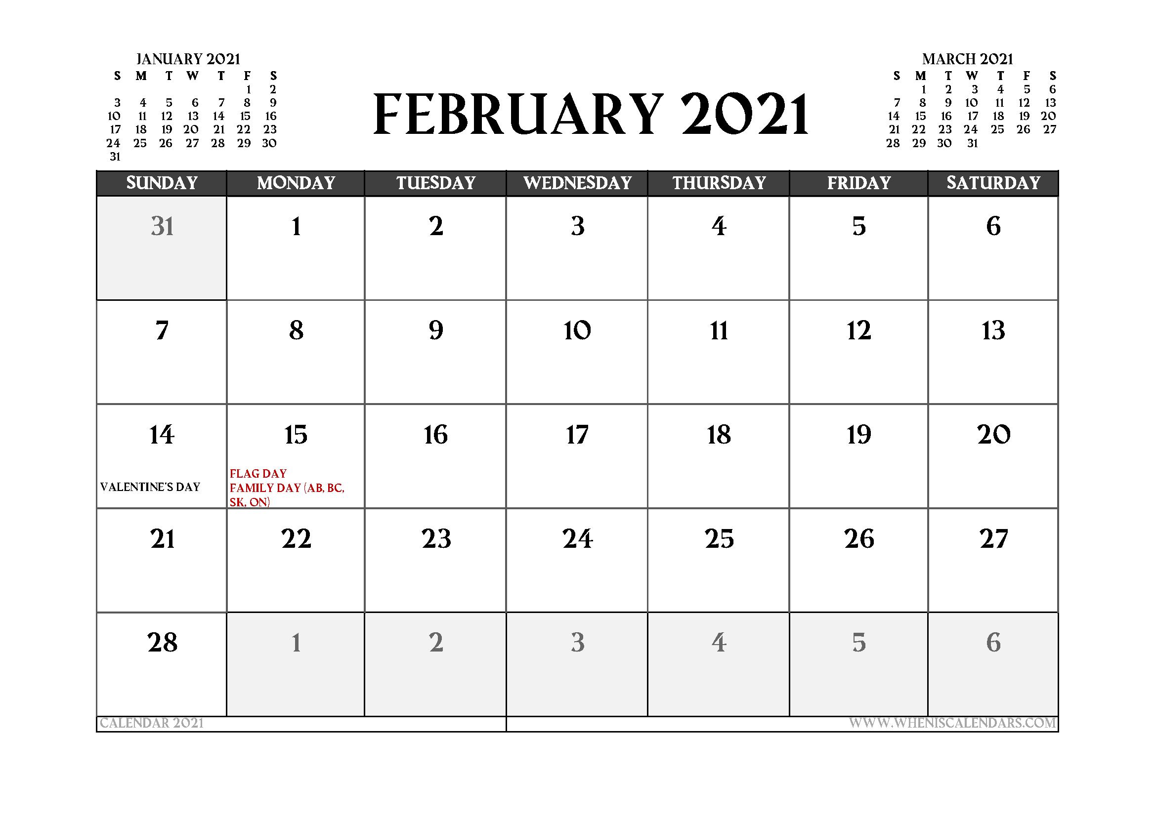 Printable February 2021 Calendar Canada