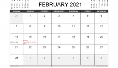 February 2021 Calendar Canada with Holidays