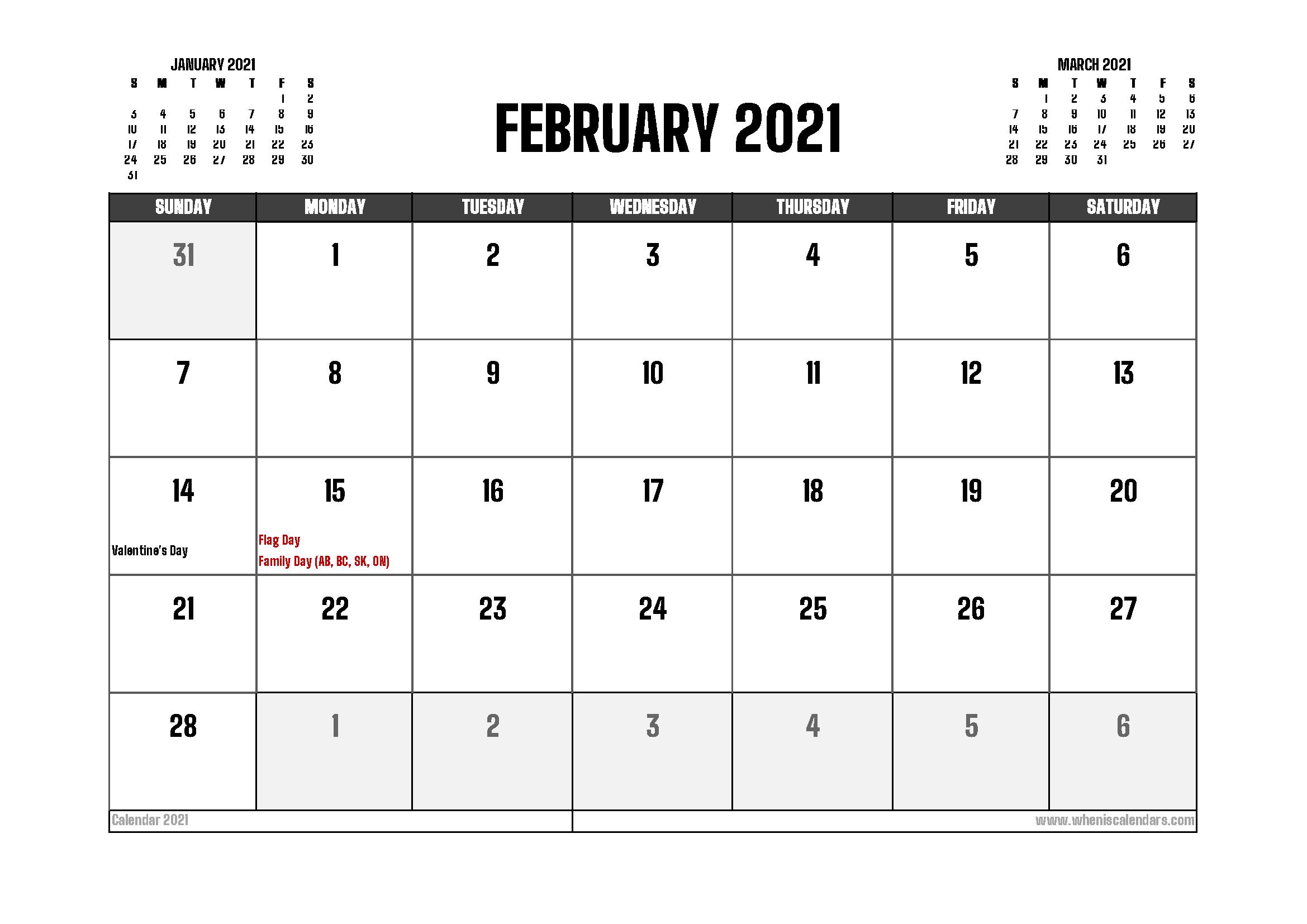 February 2021 Calendar Canada Printable
