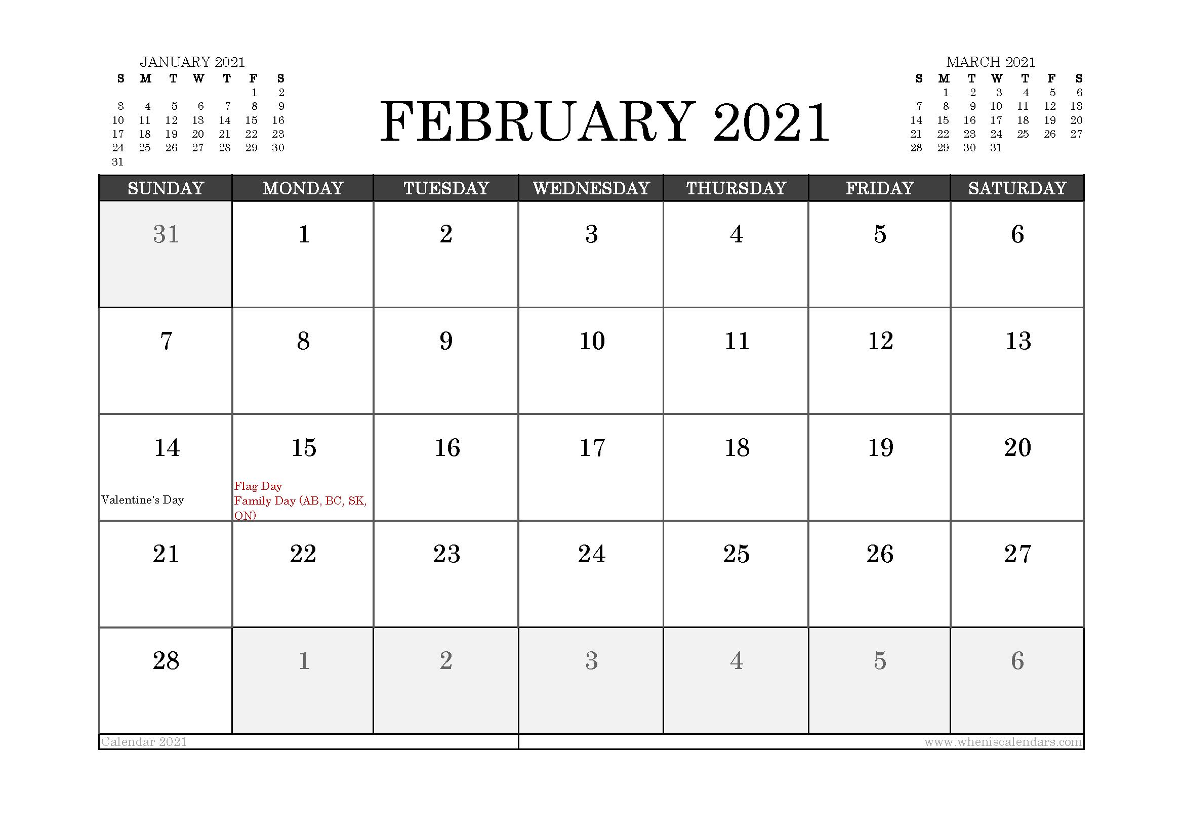 February 2021 Calendar Canada with Holidays