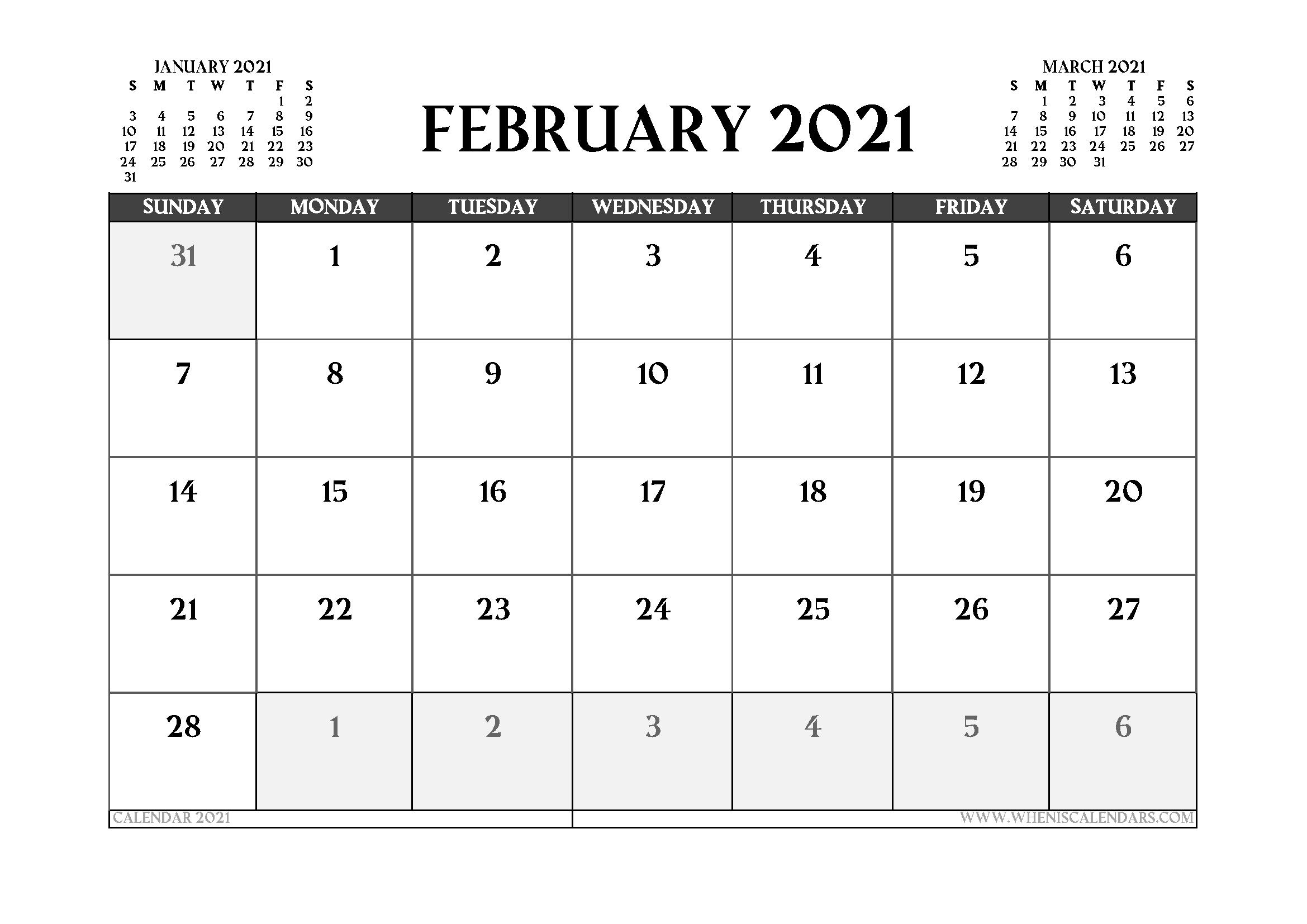 Printable February 2021 Calendar UK - Free Printable 2020 ...