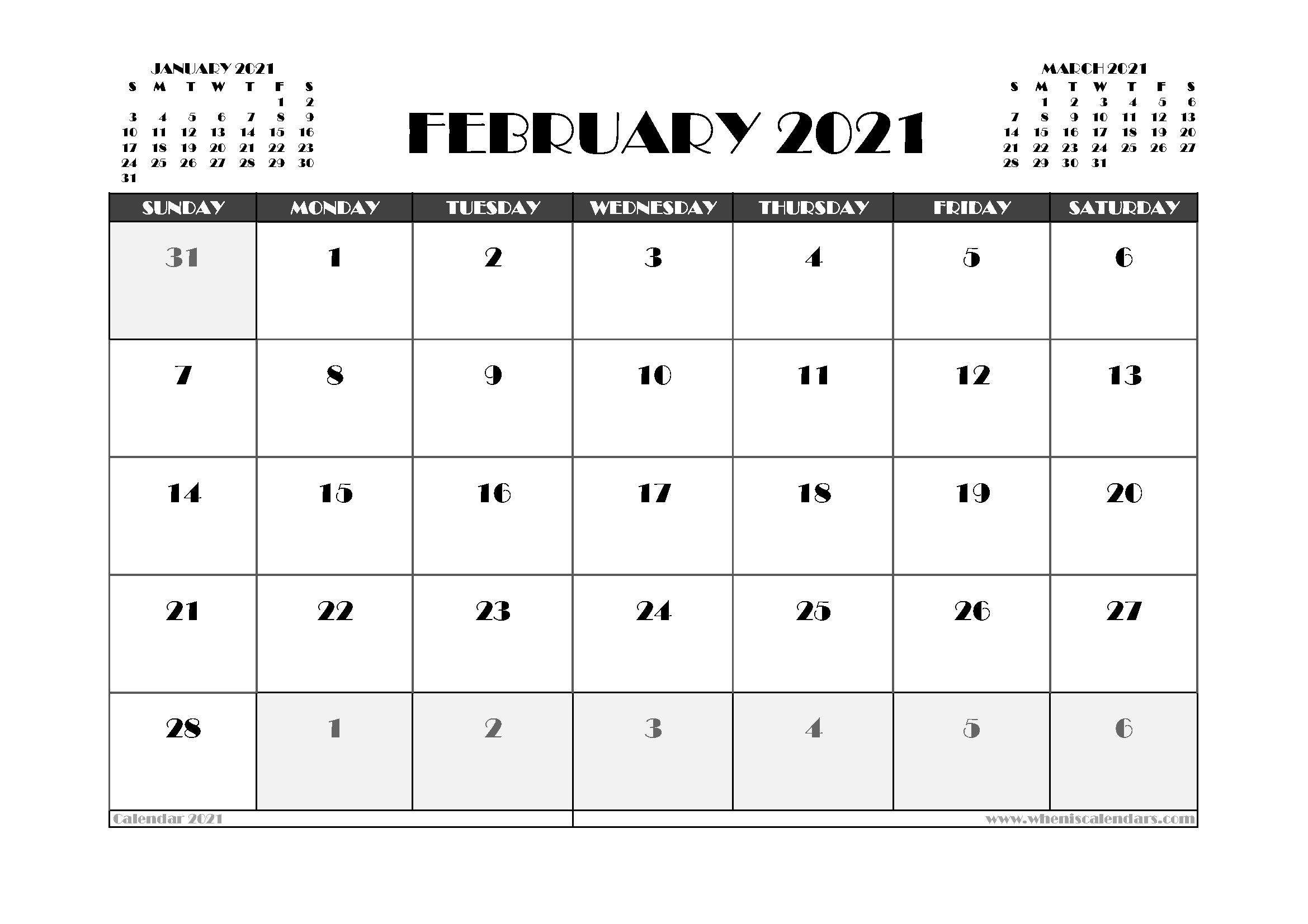Free February 2021 Calendar UK Printable