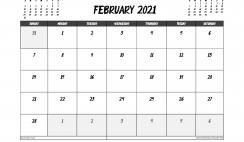February 2021 Calendar UK Printable