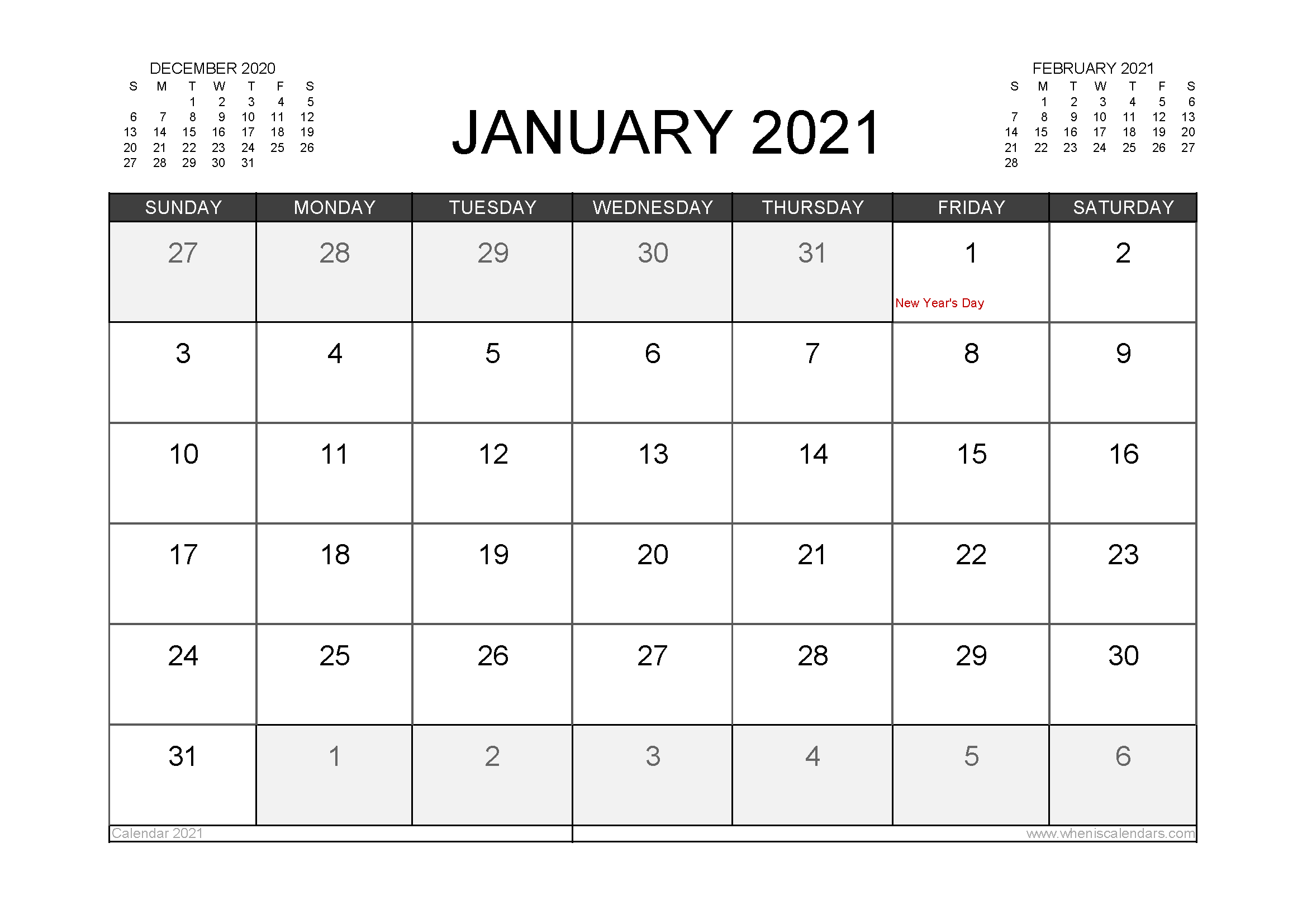 January 2021 Calendar Canada with Holidays