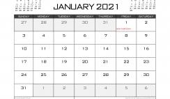 Printable January 2021 Calendar Canada