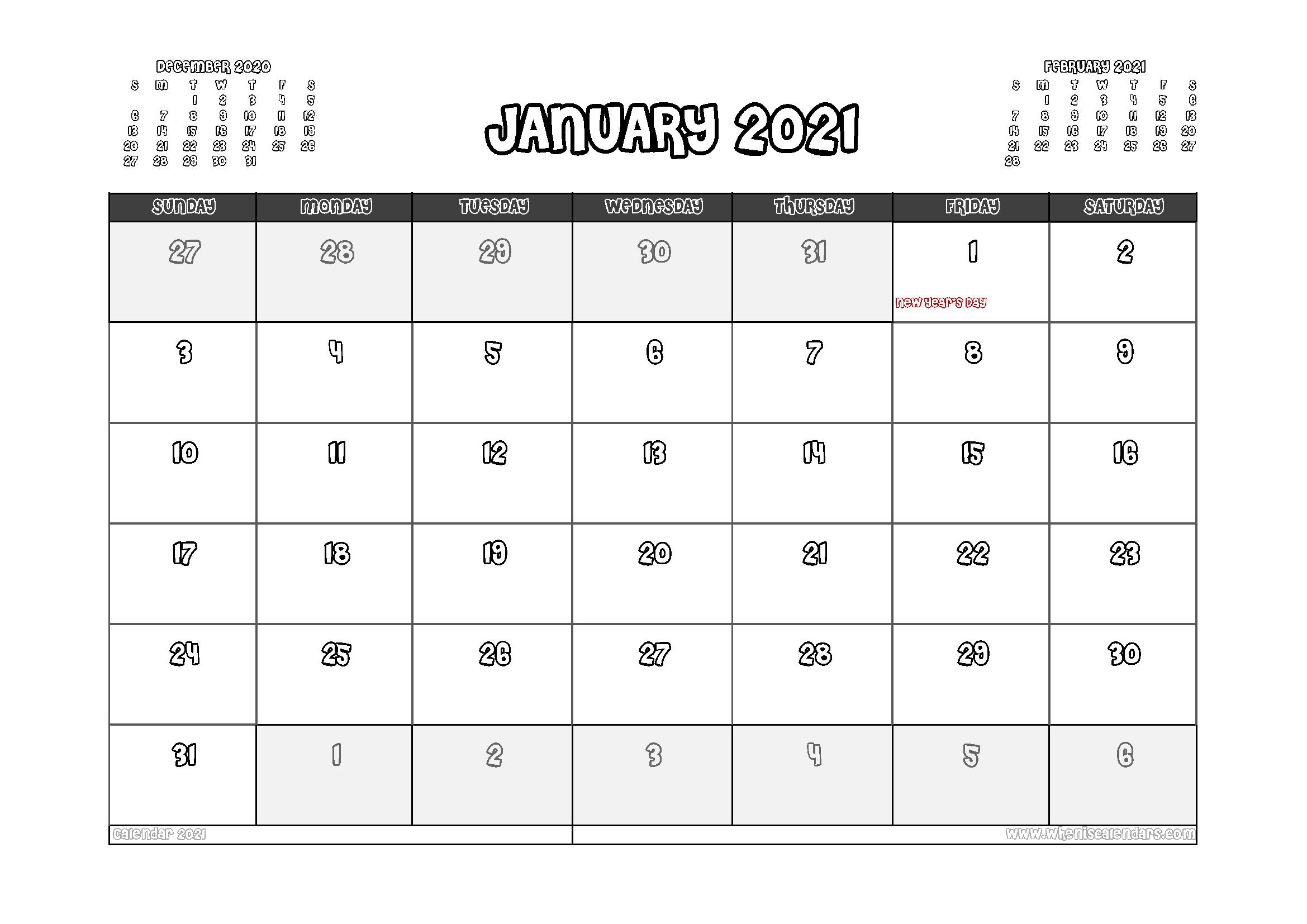 Free Printable January 2021 Calendar Canada