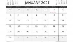 Free January 2021 Calendar Canada Printable
