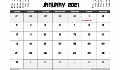 January 2021 Calendar Canada Printable