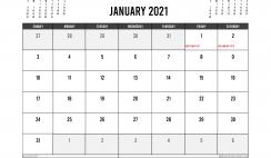 Printable January 2021 Calendar UK