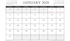 January 2021 Calendar UK Printable