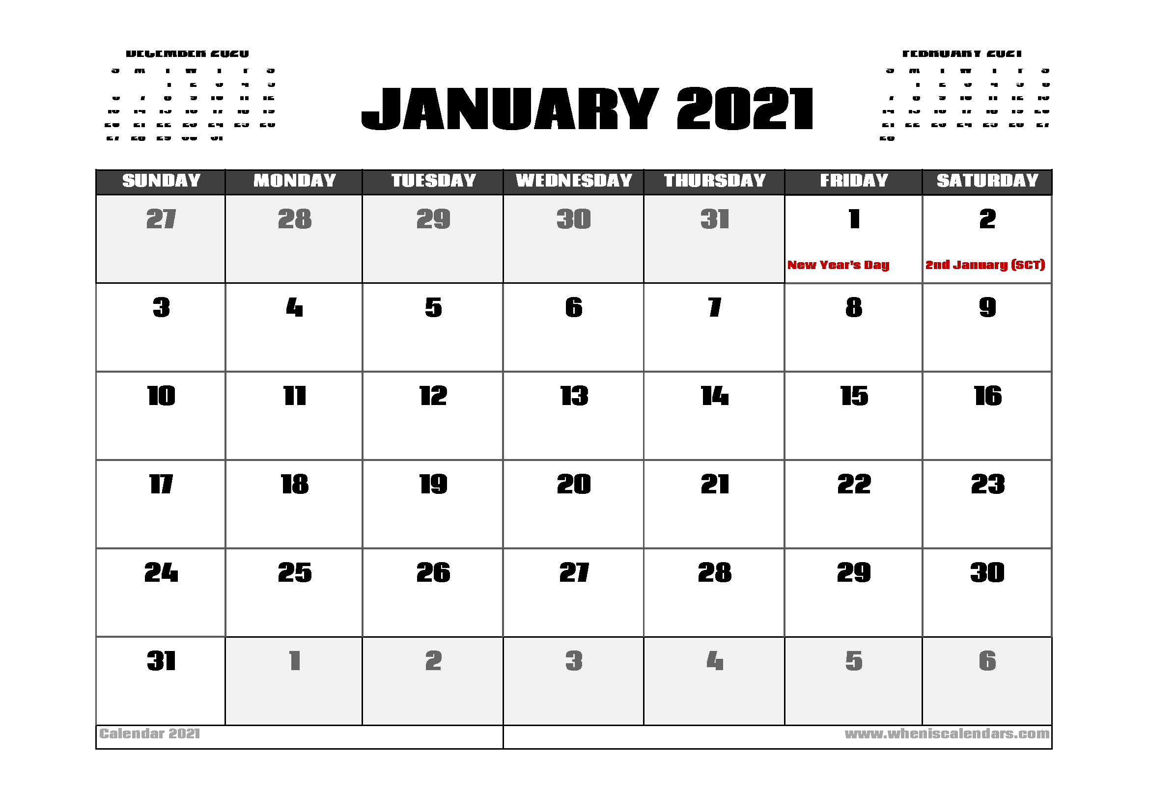 January 2021 Calendar UK with Holidays