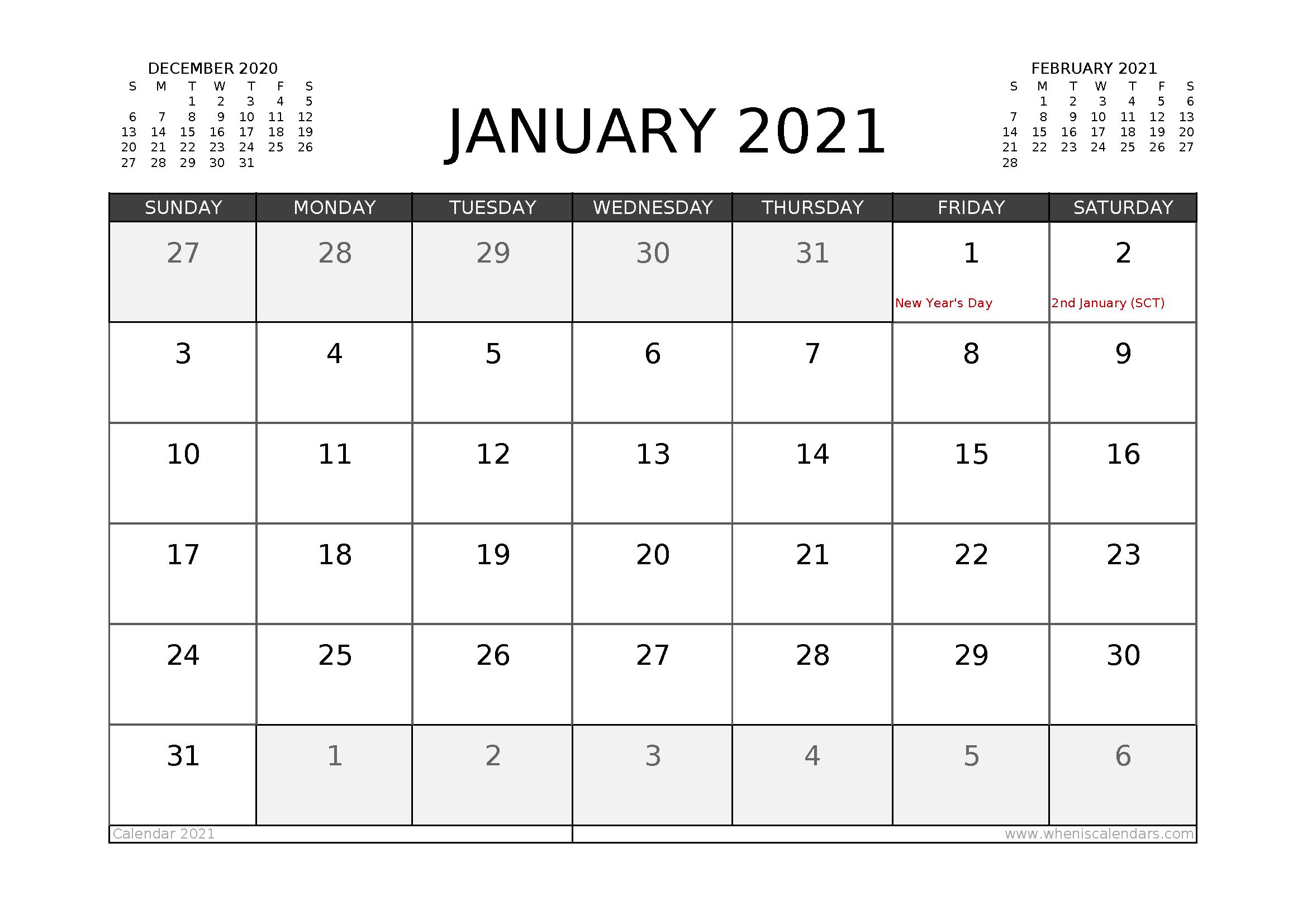 Free January 2021 Calendar UK Printable
