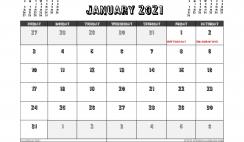Free Printable January 2021 Calendar UK