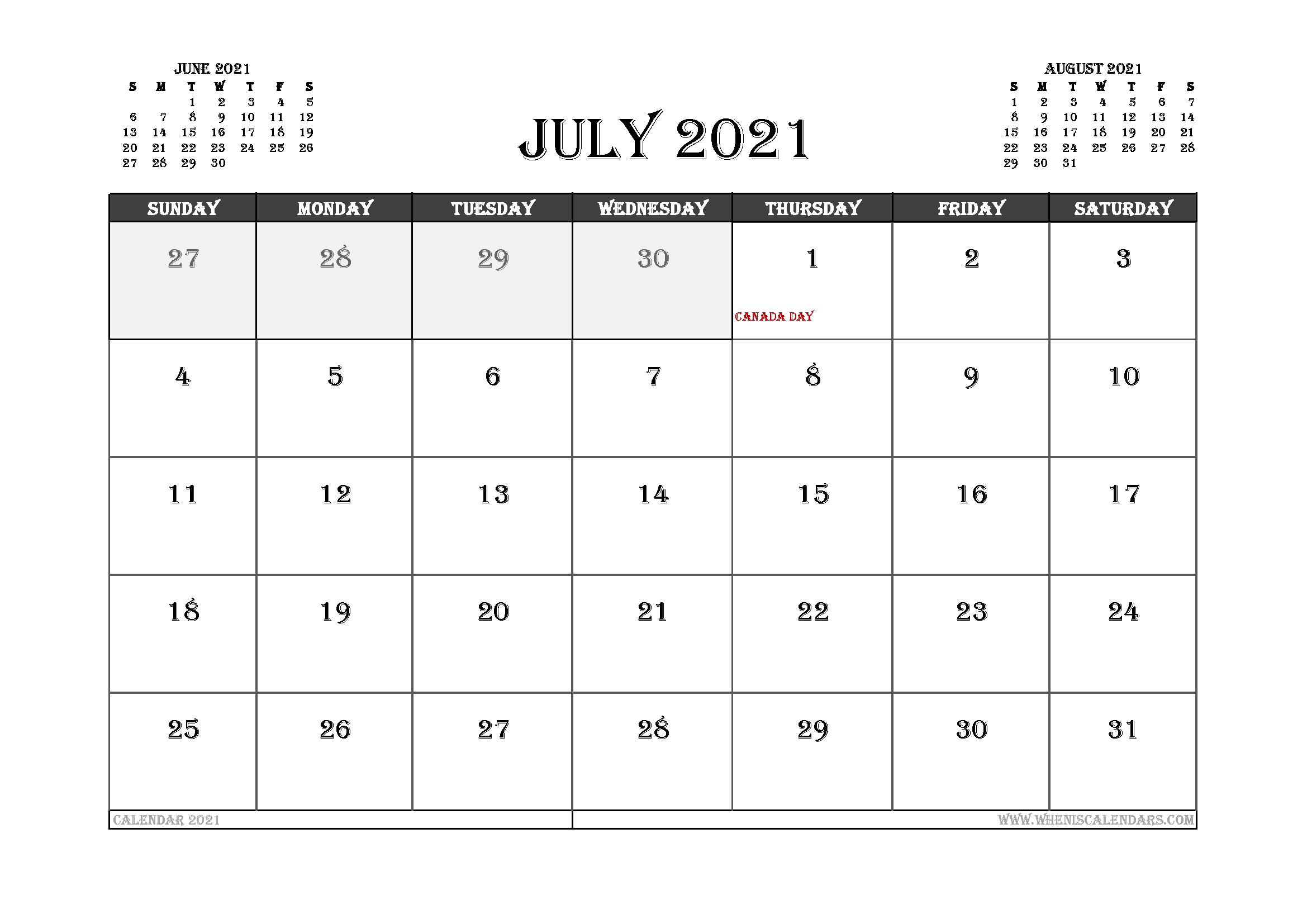 July 2021 Calendar Canada Printable
