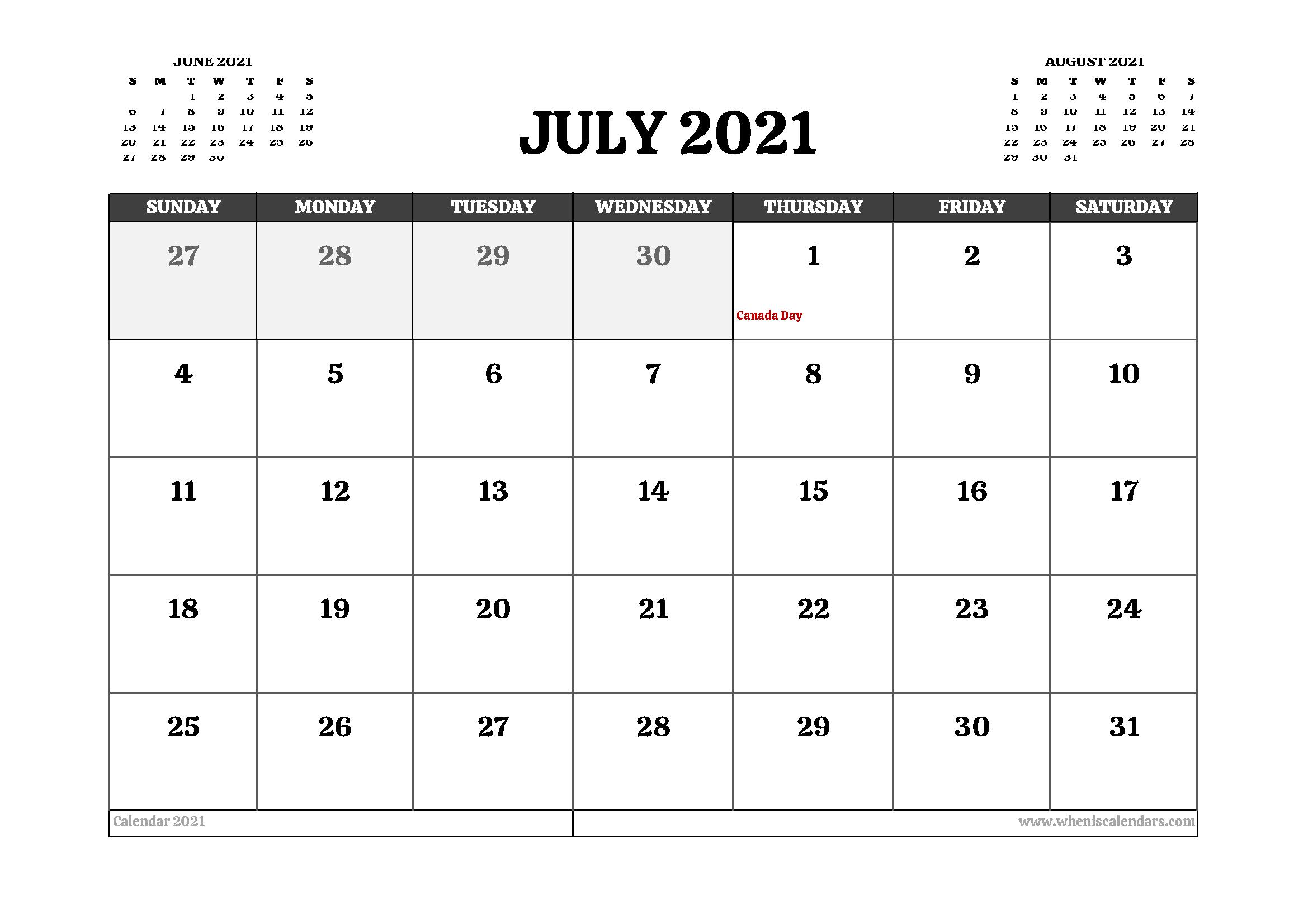 Printable July 2021 Calendar Canada