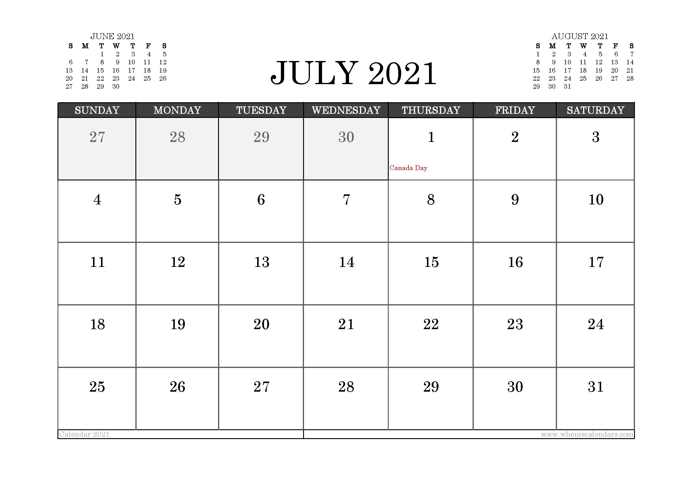 July 2021 Calendar Canada with Holidays