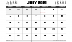 July 2021 Calendar Canada with Holidays