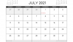 Free July 2021 Calendar Canada Printable