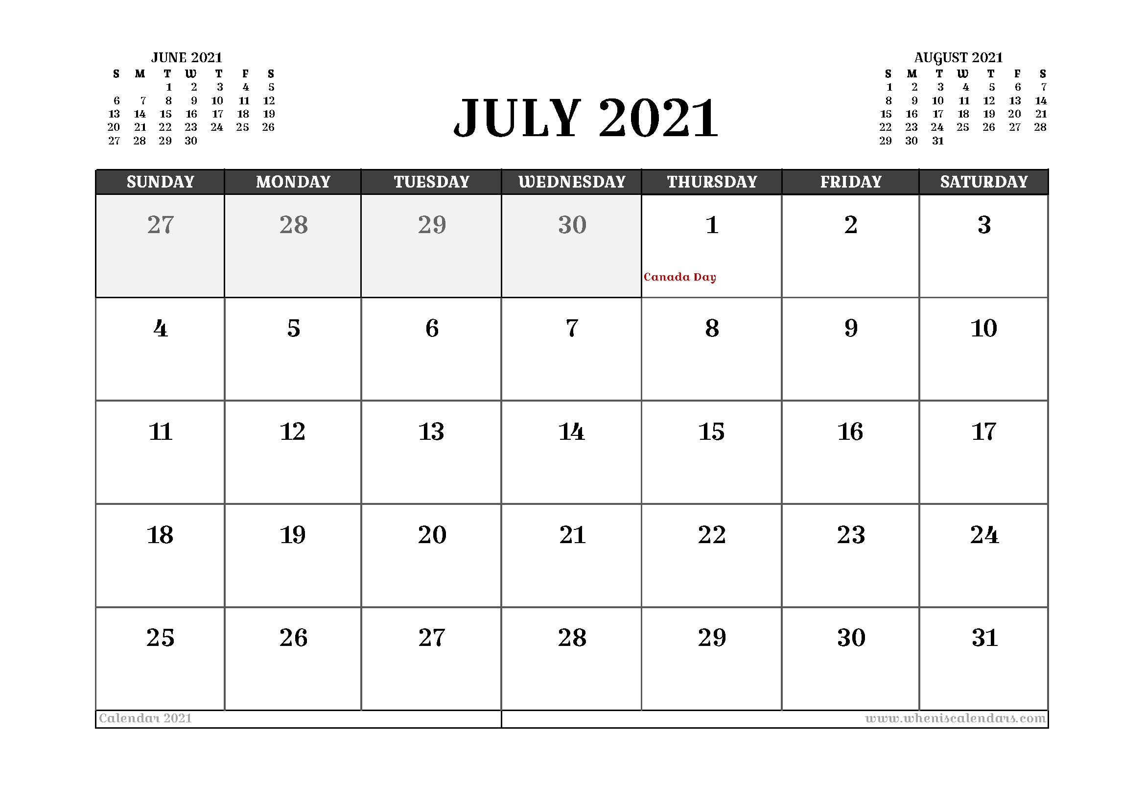 Free Printable July 2021 Calendar Canada