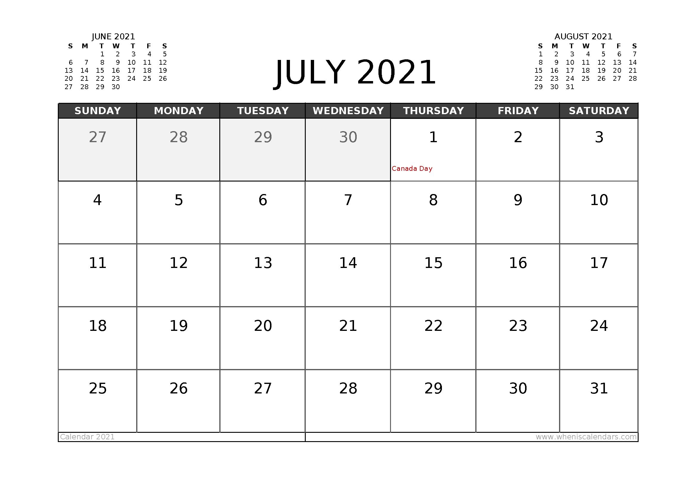 Free July 2021 Calendar Canada Printable 12 Templates