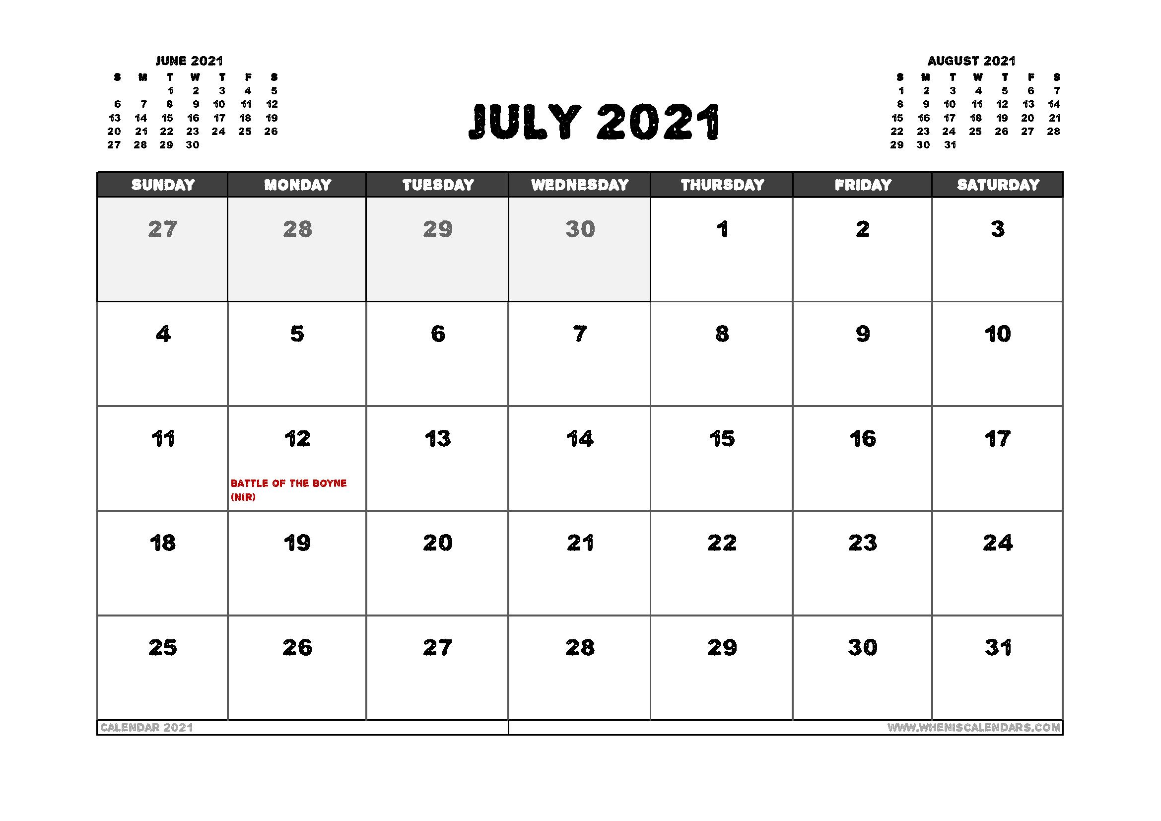 Free July 2021 Calendar UK Printable