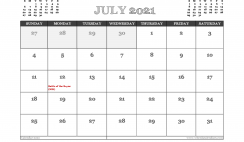 July 2021 Calendar UK Printable